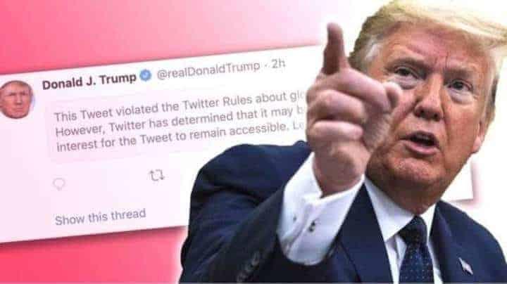 Twitter iyo Facebook oo xayiray Barihii uu ku lahaa Madaxweyne Donald Trump iyo farriimo laga tirtiray